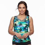 Plus Size ZeroXposur Palm Tree Racerback Tankini Top