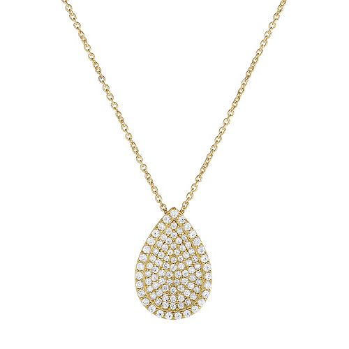 Gold Tone Sterling Silver Cubic Zirconia Teardrop Pendant Necklace