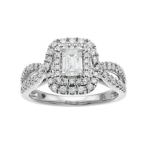 14k White Gold 1 Carat T.W. Diamond Rectangle Halo Engagement Ring