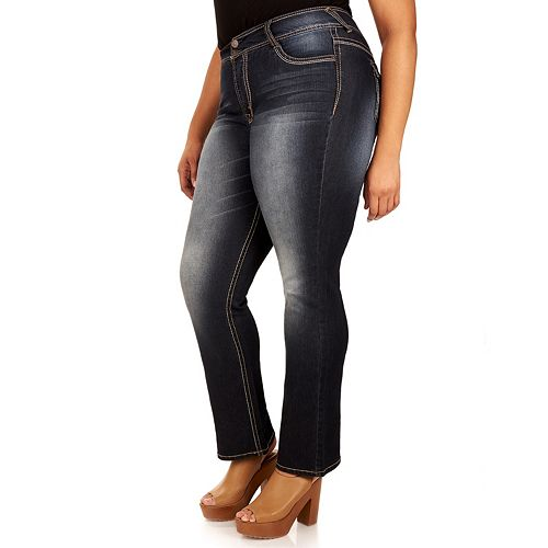 Juniors' Plus Size Wallflower Faded Bootcut Jeans