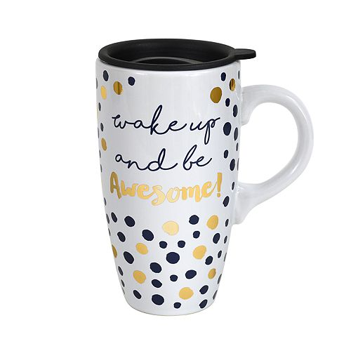 Enchante Wake-Up And Be Awesome Lidded Travel Mug