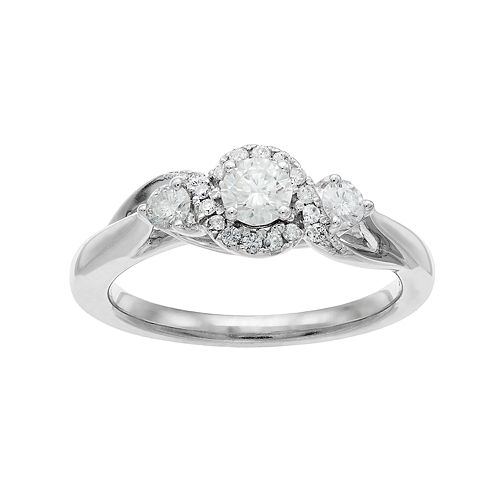 10k White Gold 1/2 Carat T.W. Diamond 3-Stone Halo Engagement Ring