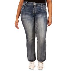 Juniors' Plus Size Wallflower Curvy Bling Bootcut Jeans