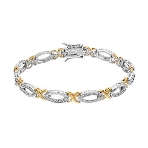 Two Tone Sterling Silver 1/4 Carat T.W. Diamond XO Bracelet