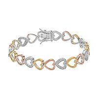 Tri Tone Sterling Silver 1/4 Carat T.W. Diamond Heart Bracelet