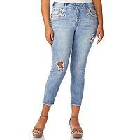 Juniors' Plus Size Wallflower Luscious Bling Skinny Ankle Jeans