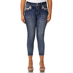 Juniors' Plus Size Wallflower Luscious Bling Skinny Ankle Jeans