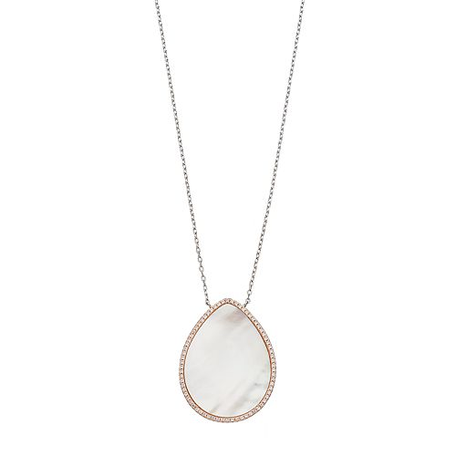 Sterling Silver Mother-of-Pearl & Cubic Zirconia Teardrop Pendant Necklace