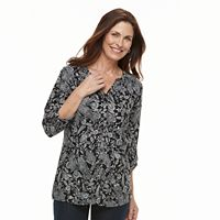 Women's Croft & Barrow® Printed Shirred-Shoulder Shirt