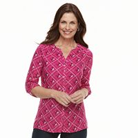 Women's Croft & Barrow® Printed Shirred-Shoulder Shirt