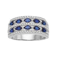 Sterling Silver Lab-Created Blue & White Sapphire Multi Row Ring