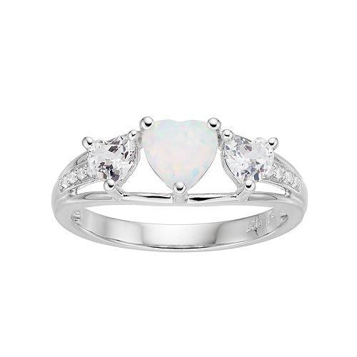Sterling Silver Lab-Created Opal & White Sapphire Triple Heart Ring