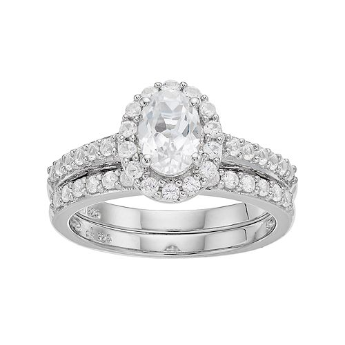 Sterling Silver Lab-Created White Sapphire Oval Halo Engagement Ring Set