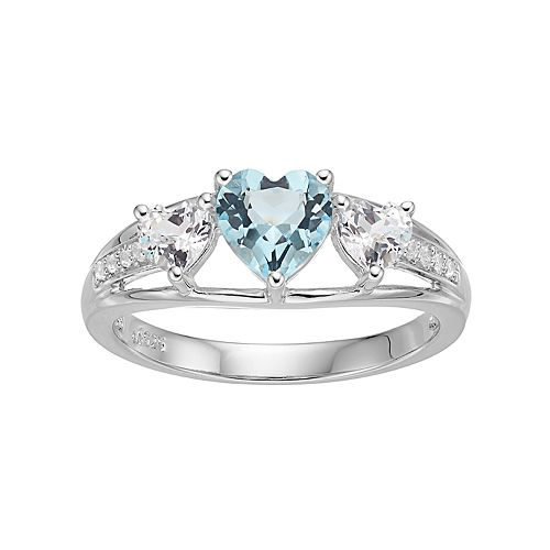 Sterling Silver Simulated Aquamarine & Lab-Created White Sapphire Triple Heart Ring