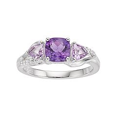 Sterling Silver Amethyst & Rose de France Amethyst Ring