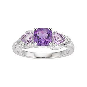 Sterling Silver Amethyst & Rose de France Amethyst Ring
