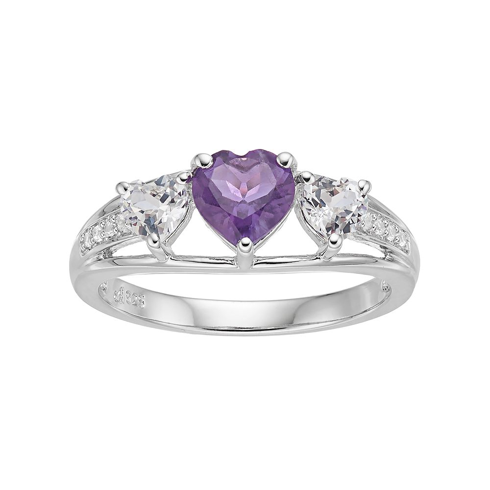 Sterling Silver Amethyst & Lab-Created White Sapphire Triple Heart Ring