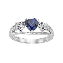 Sterling Silver Lab-Created Blue & White Sapphire Triple Heart Ring