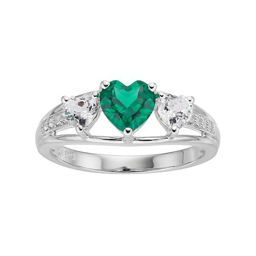 Sterling Silver Simulated Emerald & Lab-Created White Sapphire Triple Heart Ring