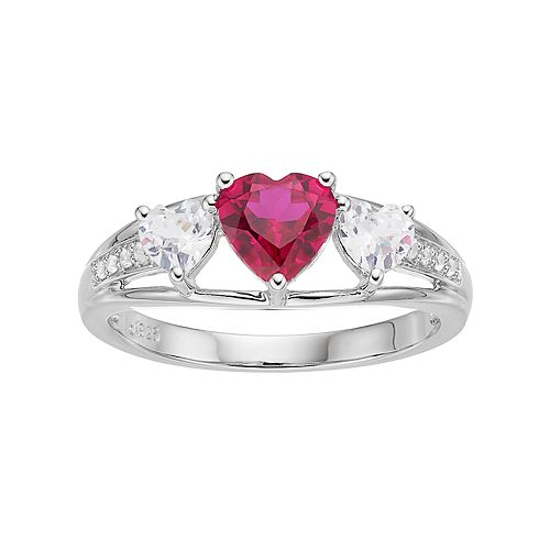 Sterling Silver Lab-Created Ruby & White Sapphire Triple Heart Ring