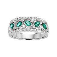 Sterling Silver Lab-Created Emerald & White Sapphire Multi Row Ring