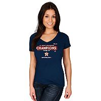 Women's Majestic Houston Astros 2017 AL West Division Champs Locker Room Tee
