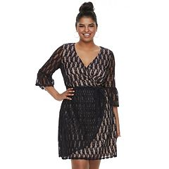 Juniors' Plus Size Wrapper Lace Faux-Wrap Dress