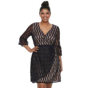 Juniors' Plus Size Wrapper Lace Faux-Wrap Dress
