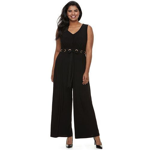 Juniors' Plus Size Wrapper Grommet Wide-Leg Jumpsuit