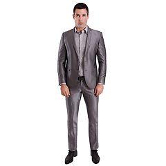 Men's Nick Graham Silver Shine Slim-Fit Unhemmed Suit