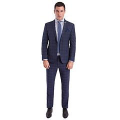 Men's Nick Graham Slim-Fit Plaid Unhemmed Suit