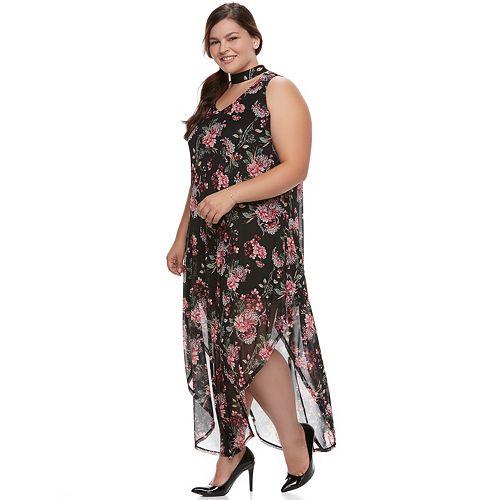 Juniors\' Plus Size Wrapper Floral Mesh Maxi Dress