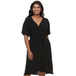 Juniors' Plus Size Wrapper Kimono Faux-Wrap Dress