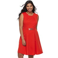 Juniors' Plus Size Wrapper Textured Fit & Flare Dress