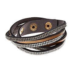Mudd® Pave Faux Leather Wrap Bracelet