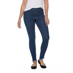 Women's Utopia by HUE High Waist Raw Edge Denim Leggings