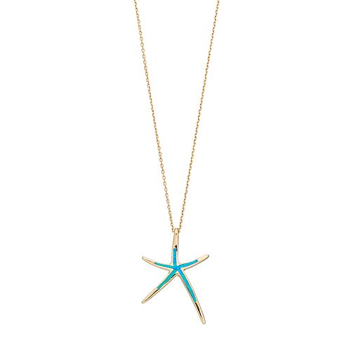 14k Gold Over Silver Lab-Created Blue Opal Starfish Pendant