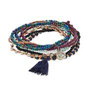 Mudd® Flower & Tassel Charm Beaded Stretch Bracelet Set