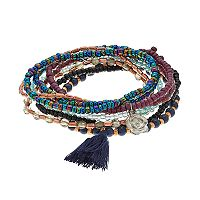 Mudd® Flower & Tassel Charm Beaded Stretch Bracelet Set