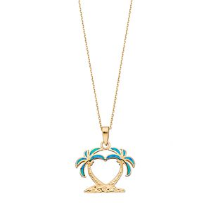 Lab created blue opal sterling silver heart palm tree pendant necklace regular mozeypictures Gallery
