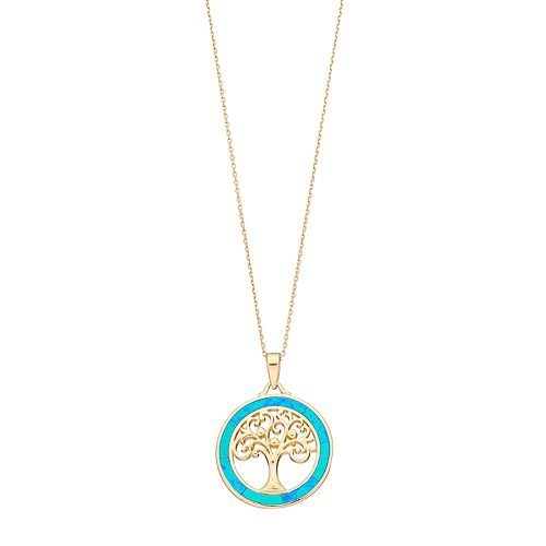 14k Gold Over Silver Lab-Created Blue Opal Tree Of Life Circle Pendant