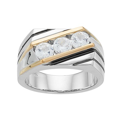 Men's Two Tone Sterling Silver Lab-Created White Sapphire 3-Stone Ring