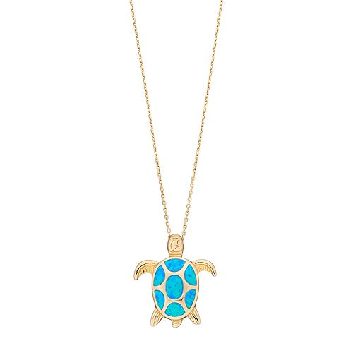 14k Gold Over Silver Lab-Created Blue Opal Turtle Pendant