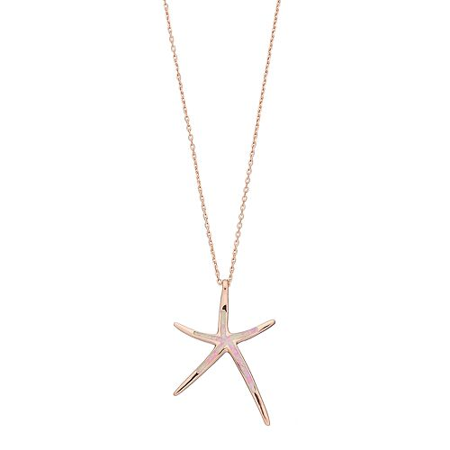 14k Rose Gold Over Silver Lab-Created Pink Opal Starfish Pendant