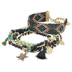 Mudd® Turtle & Tassel Charm Beaded Bracelet Set