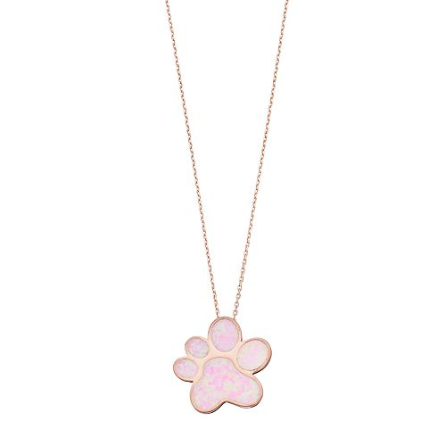 14k Rose Gold Over Silver Lab-Created Pink Opal Paw Print Pendant