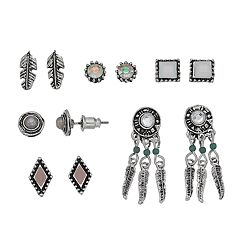 Mudd® Antiqued Dreamcatcher & Feather Nickel Free Earring Set