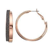 Mudd® Glittery Crisscross Nickel Free Double Hoop Earrings