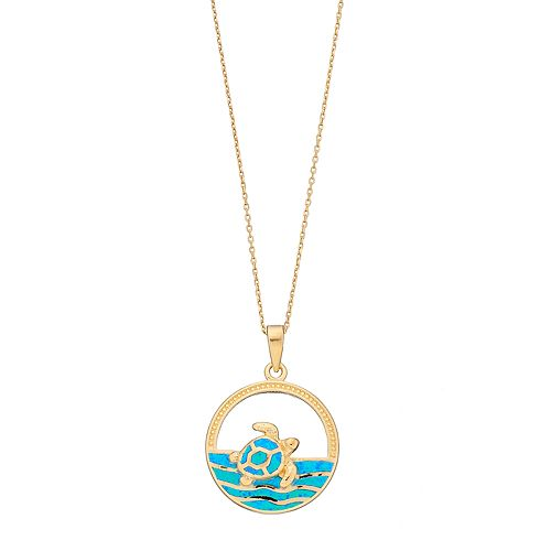 14k Gold Over Silver Lab-Created Blue Opal Turtle & Sea Pendant