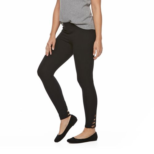 096777891b6b6 Women's Utopia by HUE Lurex Lace-Up Skimmer Leggings